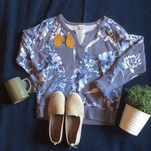 🎁like new gap blue/purple floral sweatshirt small